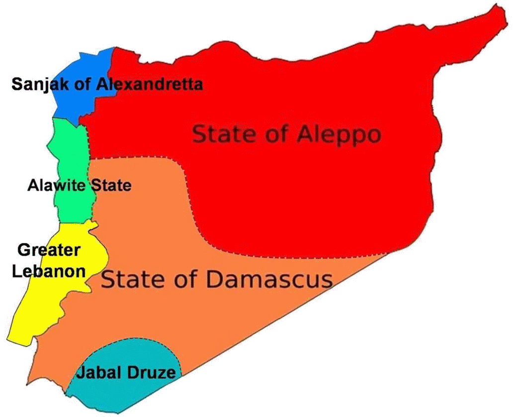 Map of Syria during the French mandate in 1920 showing the divisive situation.