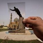 منظر عام لساحة الفردوس في موقع الصورة التي أخذها جيرو مديلاي لتمثال صدام حسين وهو يسحب من قبل القوات الأمريكية والعراقيين في 9 نيسان 2003. تصوير: مايا الاريزو