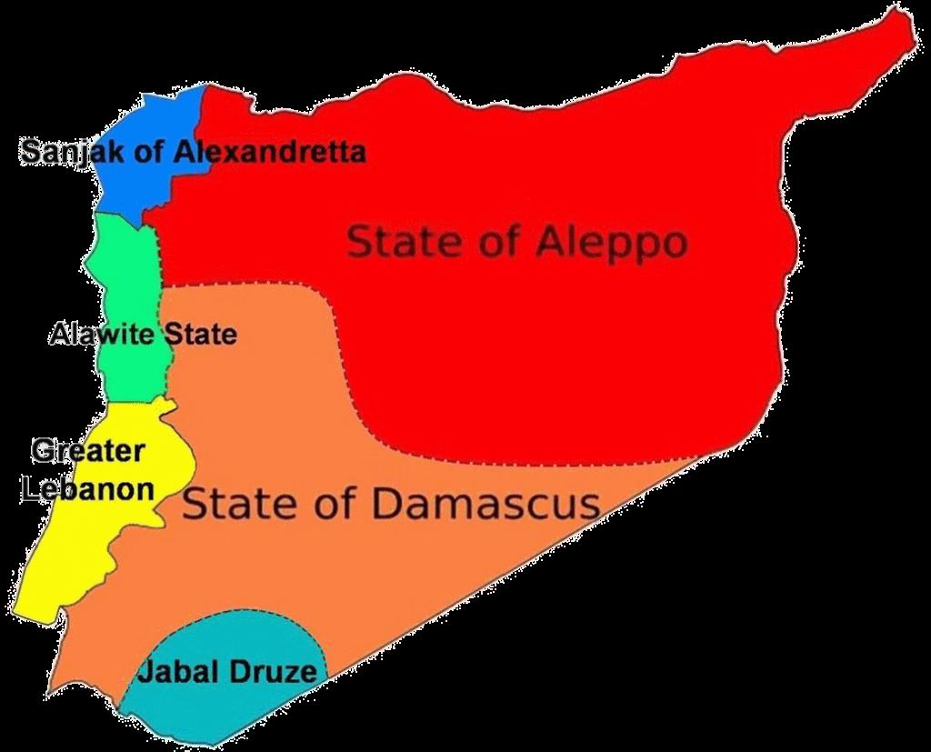 خارطة سوريا خلال الانتداب الفرنسي 1920 التي تبين الوضع التقسيمي لها
