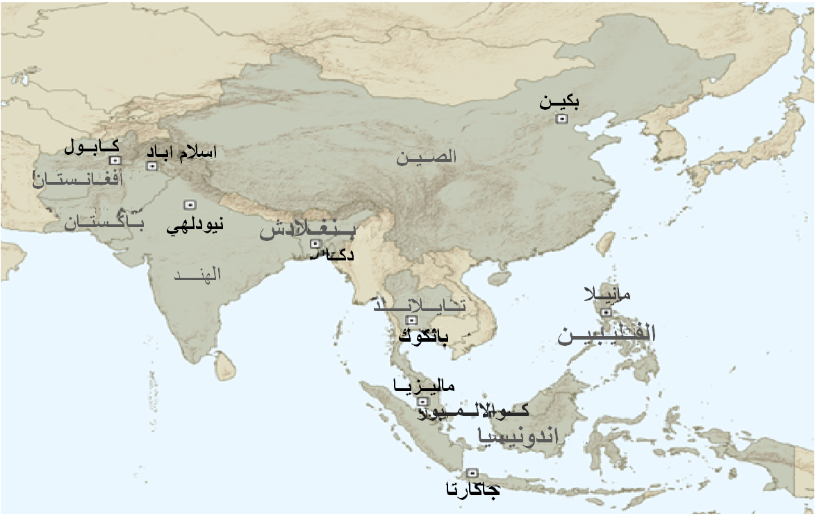 صورة اقليمية : الجماعات المحلية التي تتأثر بالشبكات الاسلامية