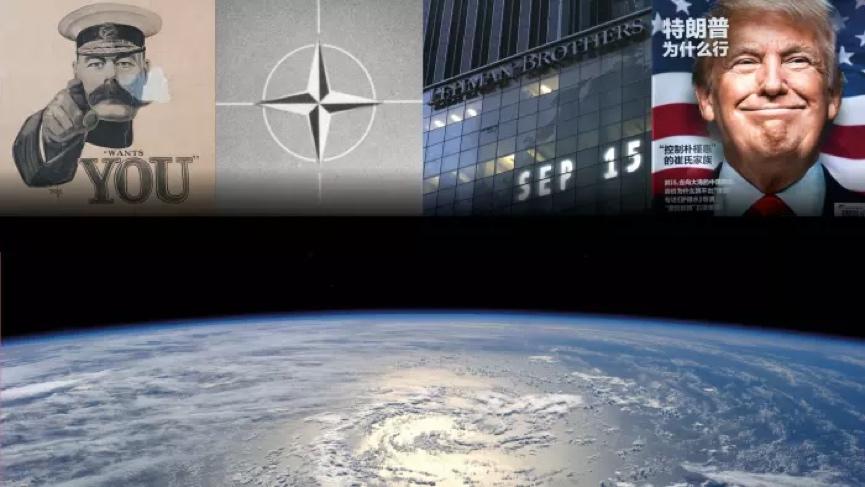 من الحرب الصناعية إلى الاضطراب الشعبوي، من اليسار: حثُّ البريطانيين للقتال في الحرب العالمية الأولى، ثم تأسيس حلف شمال الأطلسي في عام 1949، وانهيار بنك ليمان براذرز في عام 2008، وانتخاب دونالد ترامب رئيساً أمريكياً في عام 2016 © FT المونتاج / جيتي.